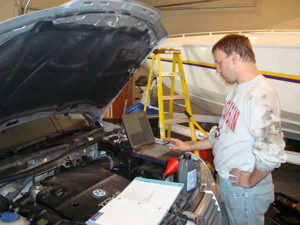 Brad checking the transmission temp