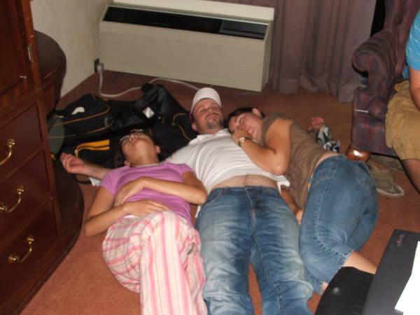 Meganuke, Mrschill, and Zippy crash after a long days work