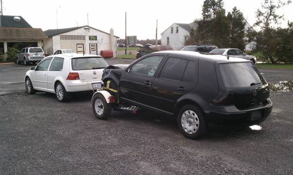 towing wrecked golf