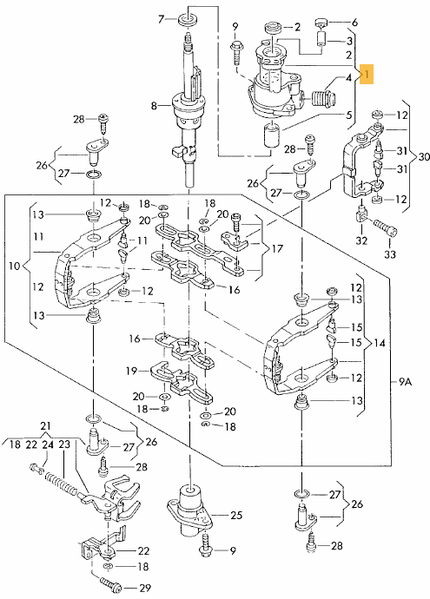 98 jetta shifter linkage diagram