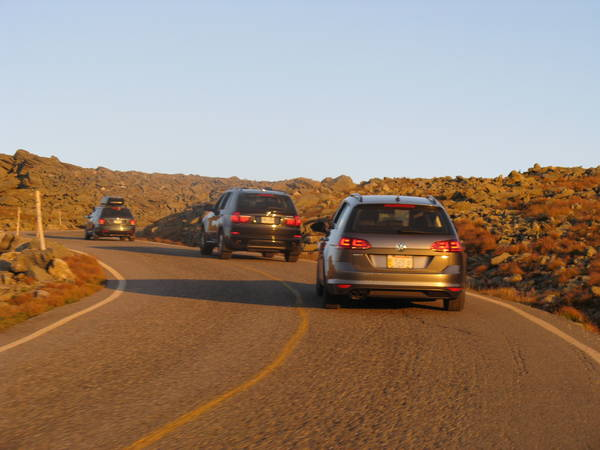Driving up Mount Washington